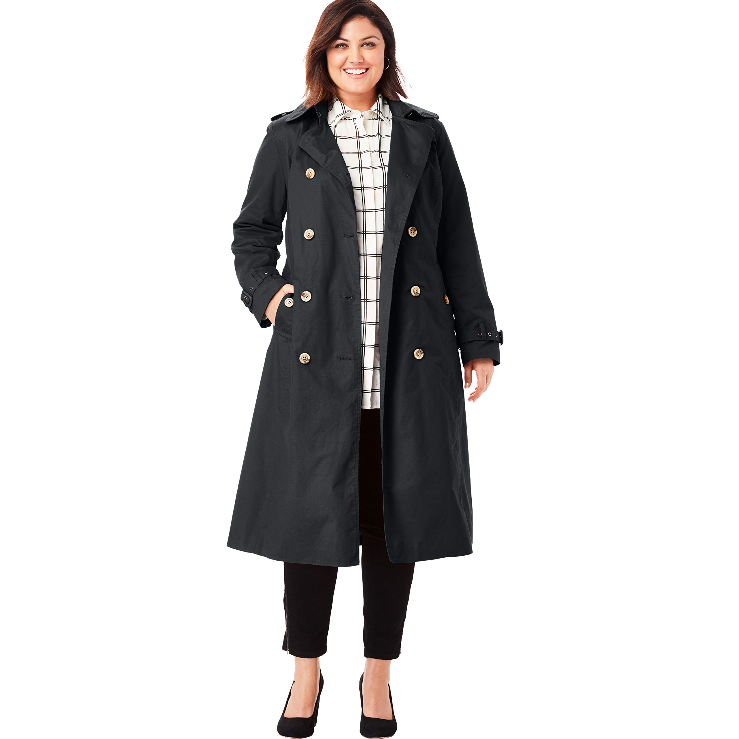 Jessica London Women's Plus Size Long Trench Coat