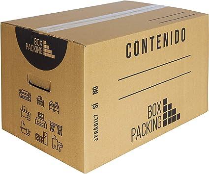 BOXPACKING | Pack 10 Cajas Cartón para Mudanza y Almacenaje | 43x30x25 cm | Con Asas | Tamaño Grande: Amazon.es: Oficina y papelería