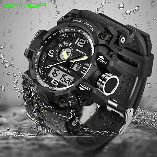 0611580c9adca Amazon.com  2016 New Brand SANDA Fashion Watch Men G Style Waterproof  Sports Military Watches Shock Men s Luxury Analog Quartz Digital Watch  (Black)  Sports ...