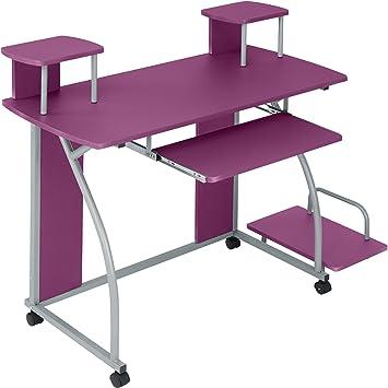 TecTake Mesa de Ordenador de Escritorio Juvenil Estudiante PC Trabajo Muebles   Púrpura: Amazon.es: Hogar