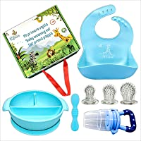 Ritalia Baby weaning Sets: Suction Plate or Bowl Waterproof Silicone Baby Bibs, Baby Spoon, Teething Toy or Fruit Feeder…