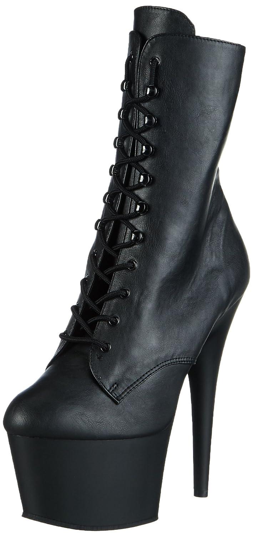 Schwarz(Schwarz(Blk Faux Leather Blk Matte)) Pleaser ADORE-1020, Damen Halbschaft Stiefel