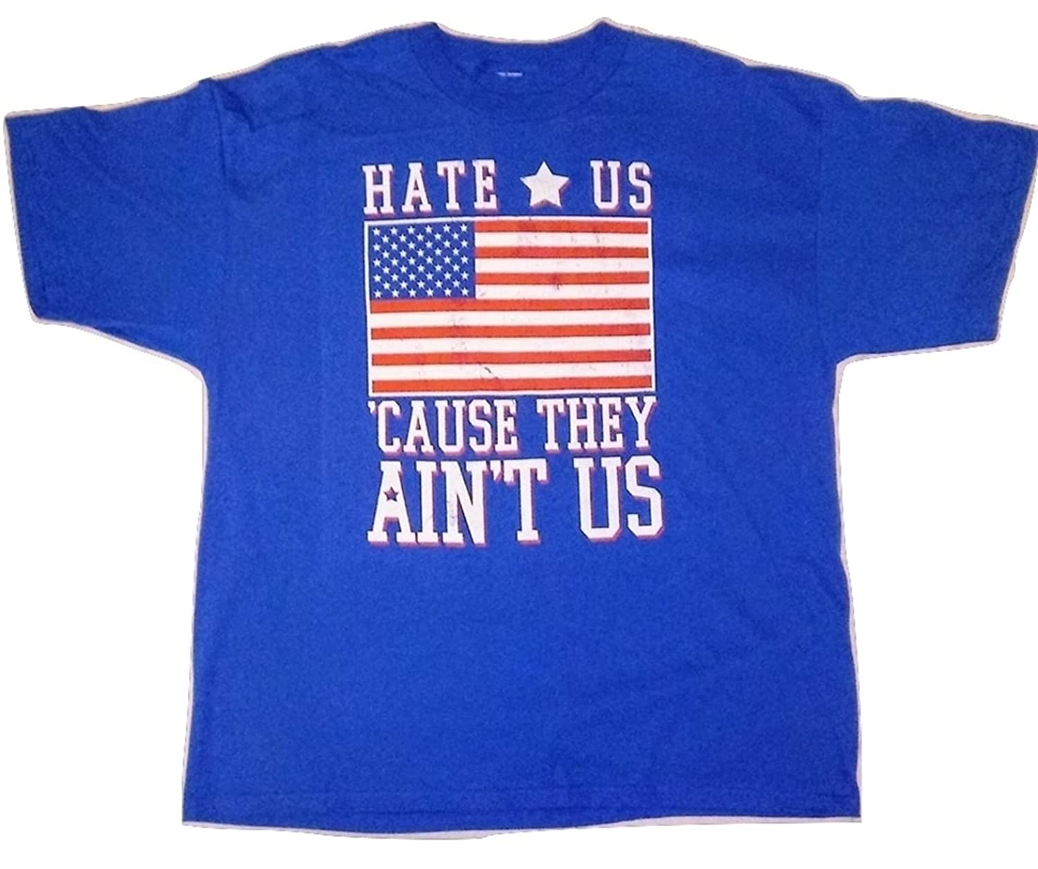 Mens Hate Us Cause They Aint Us American Flag Short Sleeve Tee Shirts Top Graphic T Shirt