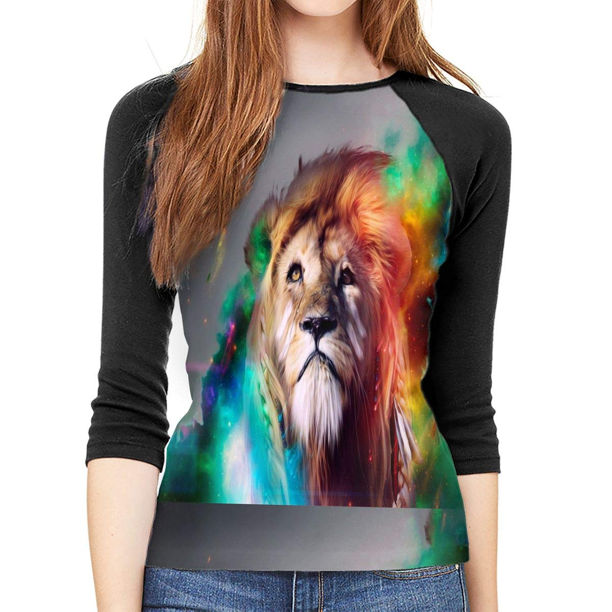 SHDFhgHGF 3D Abstract Fantasy Lion Womens 3//4 Sleeve Casual Scoop Neck Tops Tee