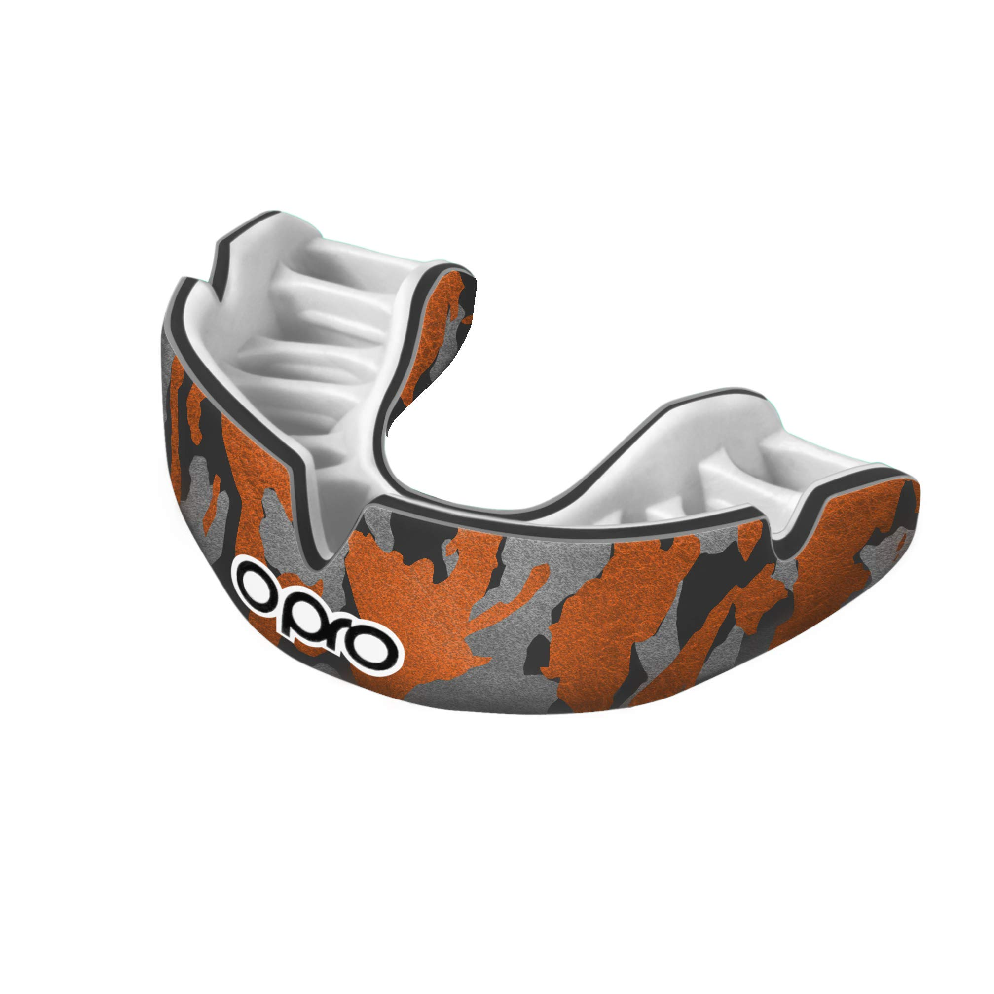OPRO Power-Fit Mouthguard | Gum Shield for Rugby, Hockey, Wrestling, and Other Combat and Contact Sports (Adult and Junior Sizes) - 18 Month Dental Warranty (Camo - Black/Orange/Silver, Junior)
