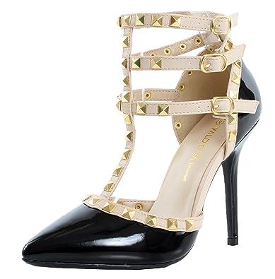 d56fa3a8400b Wild Diva Women Studded Ankle Straps Stiletto High Heel Pumps Black Pat 06  US