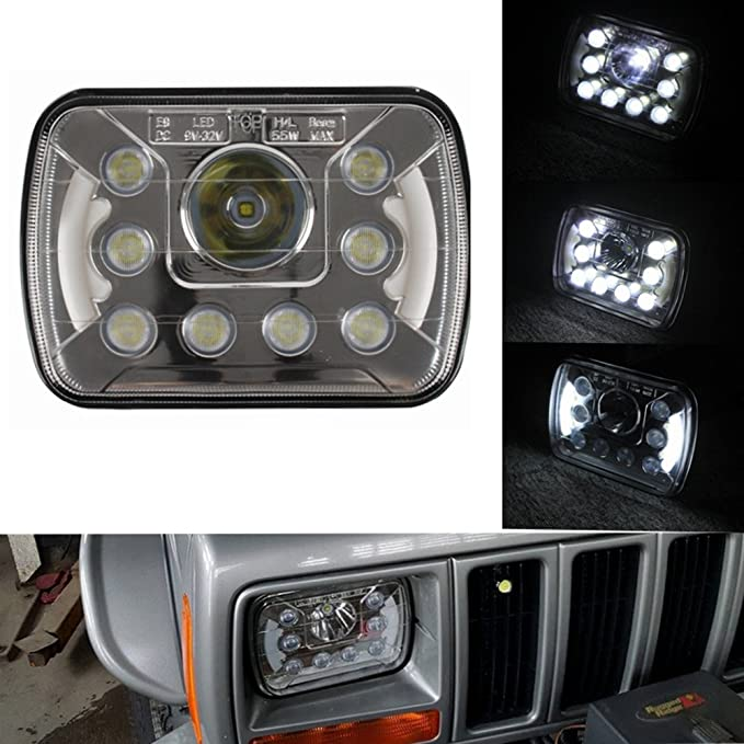 (Pair) 5''x7'' 6''x7'' High Low Beam Led Headlights for Jeep Wrangler YJ Cherokee XJ H6054 H5054 H6054LL 69822 6052 6053 with Angel Eyes DRL