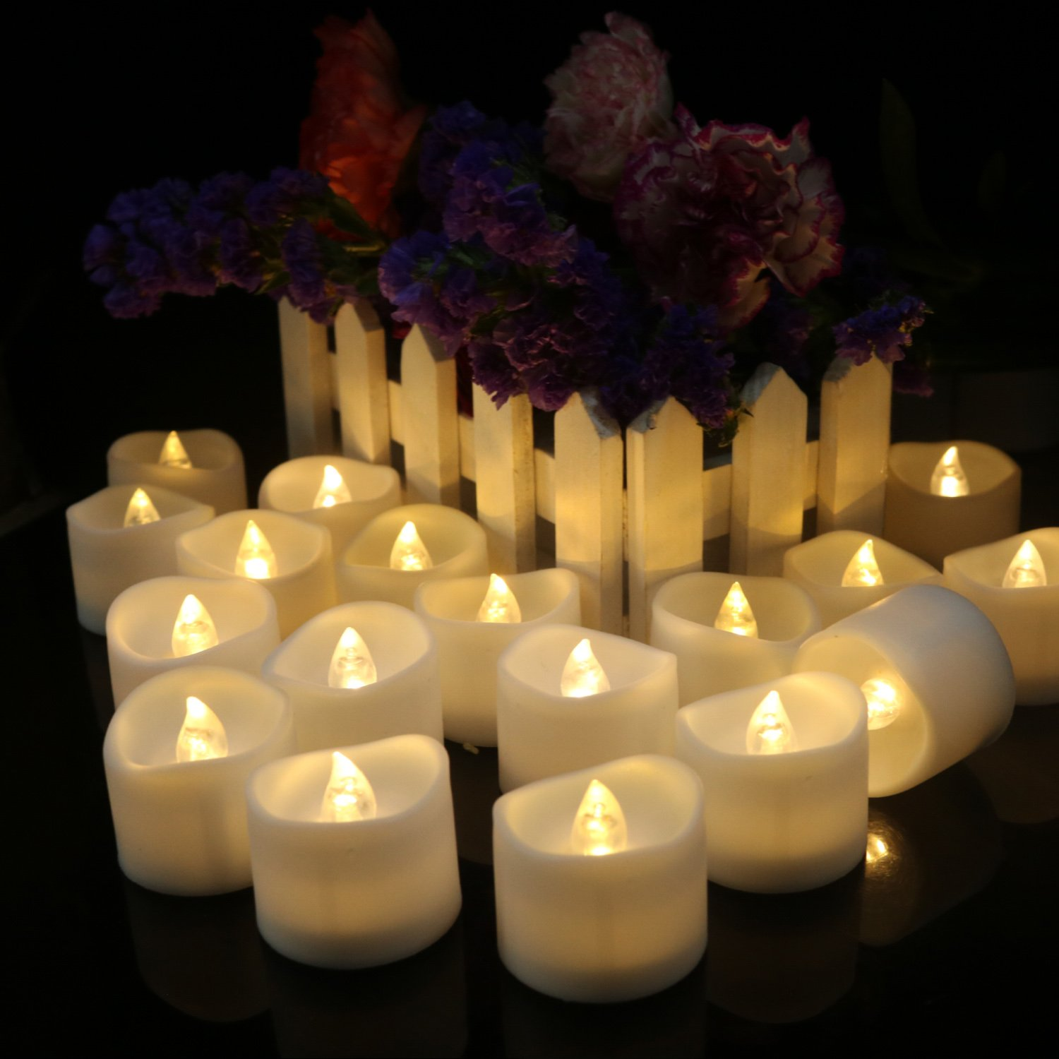 Micandle 12pcs Warm White Flameless Candles With Timer Function, LED Tea Lights Candles, Flickering Flameless Tealight with Timer, 6 Hours on and 18 Hours Off in 24 Hours Cycle, Battery Powered Candles for Wedding, Party and Birthday