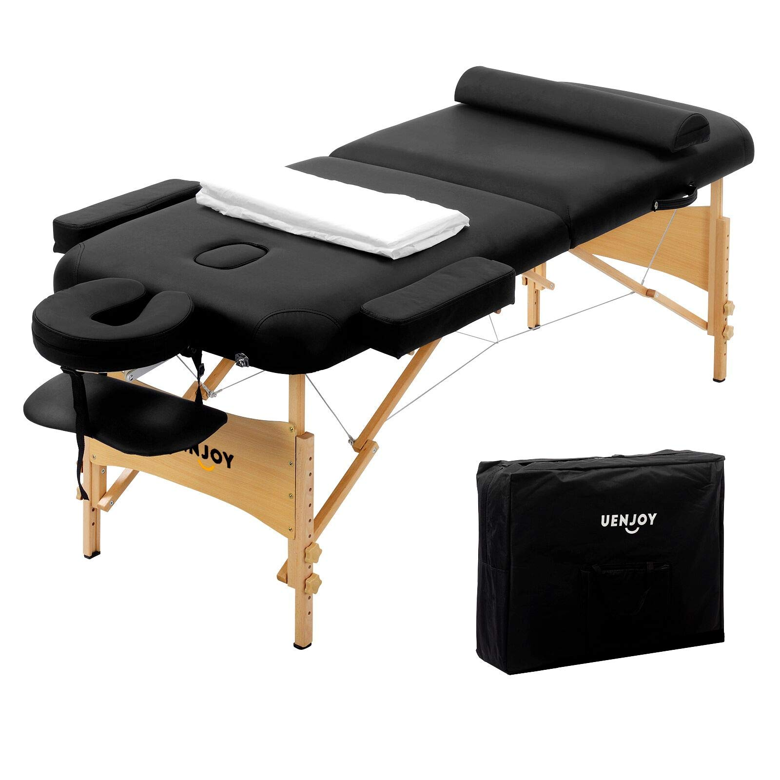 Uenjoy Massage Table 84'' Professional Folding Massage Bed Deluxe Model with Extra Width, Ultra-thick Sponge, PU Leather Surface & Additional Accessories, 2 Fold, Black