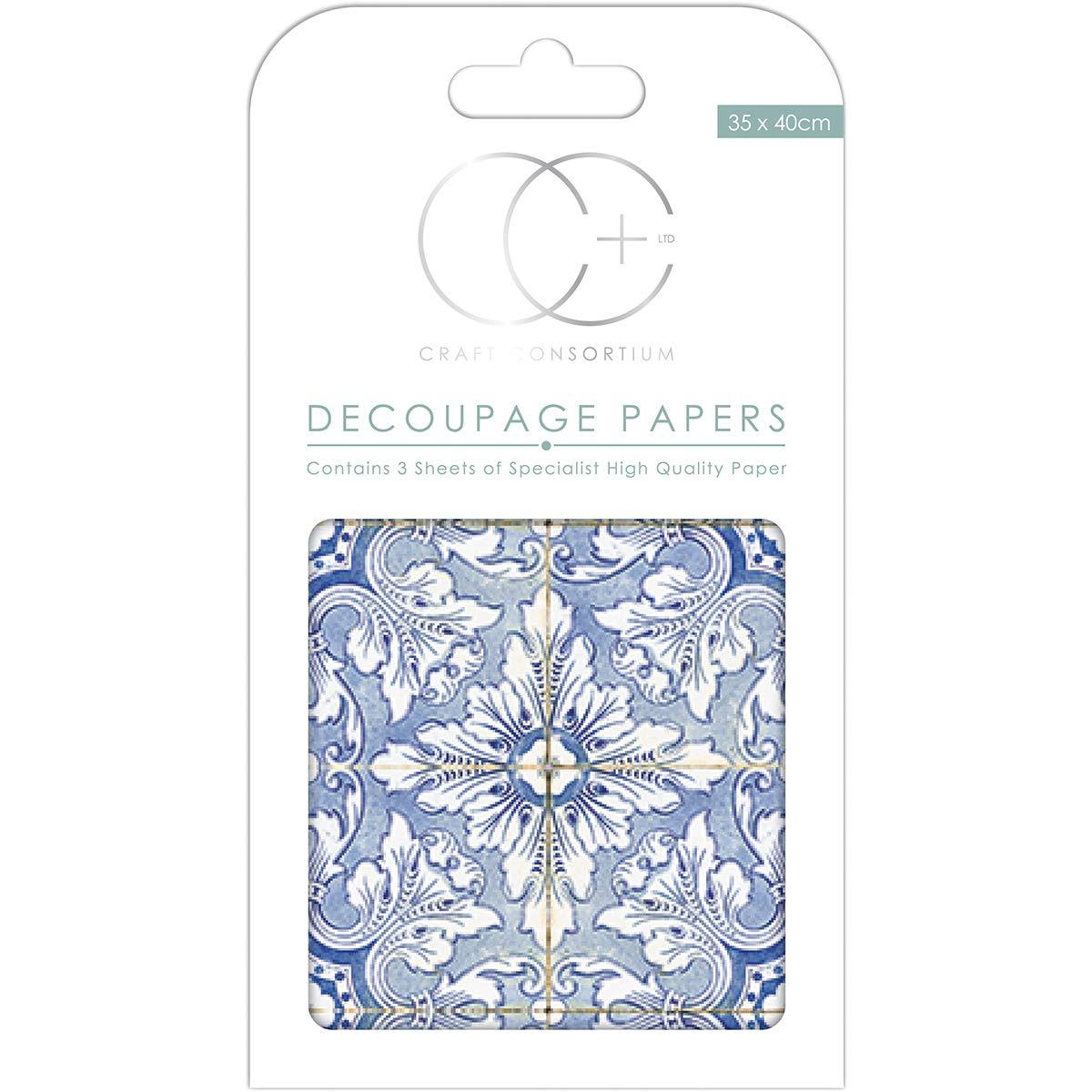 10 Count Craft Consortium DECP285 Decoupage Papers 13.75X15.75 3//Pkg Santa Claus