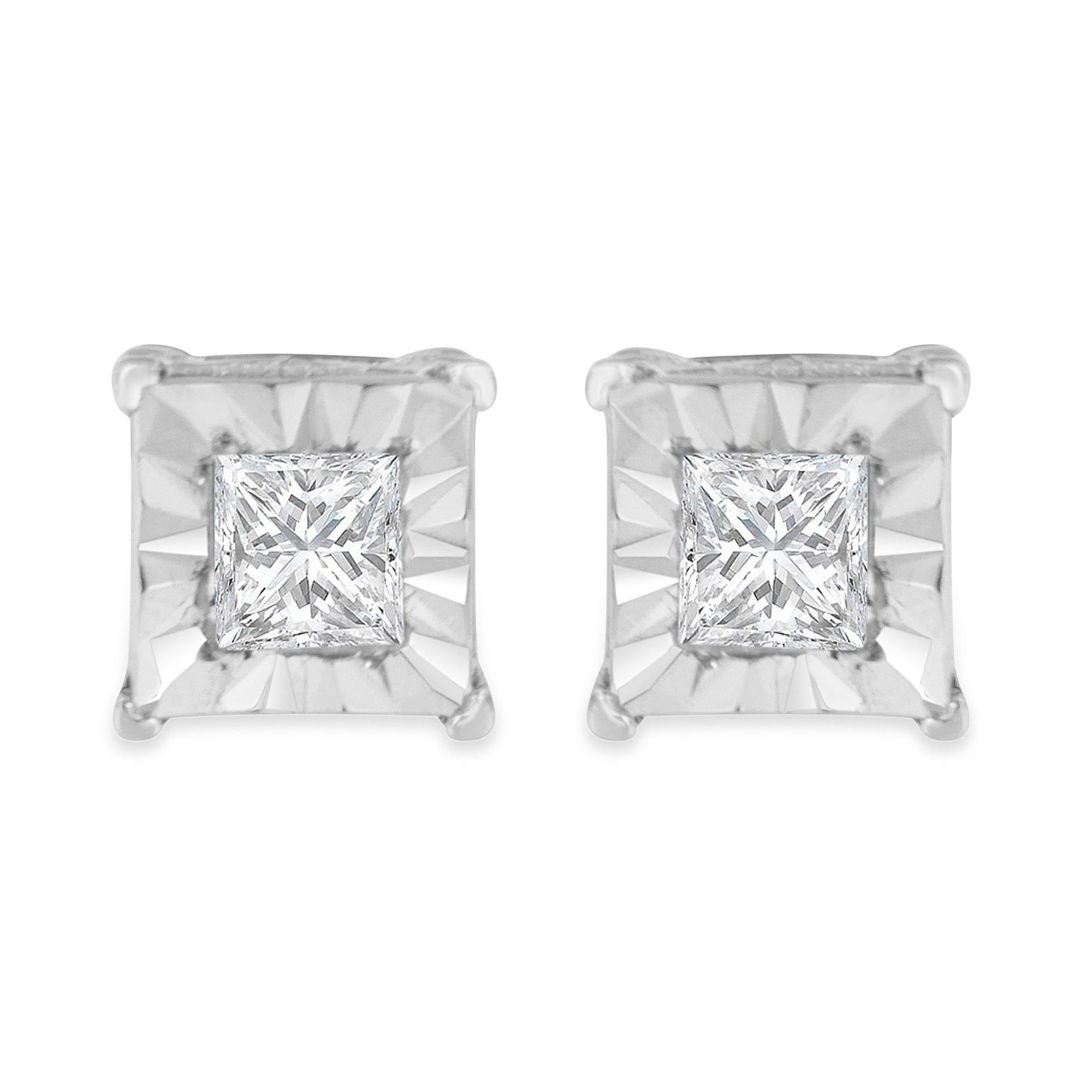 Sterling Silver Princess Diamond Solitaire Stud Earrings ( cttw, I-J Color, I2-I3 Clarity)