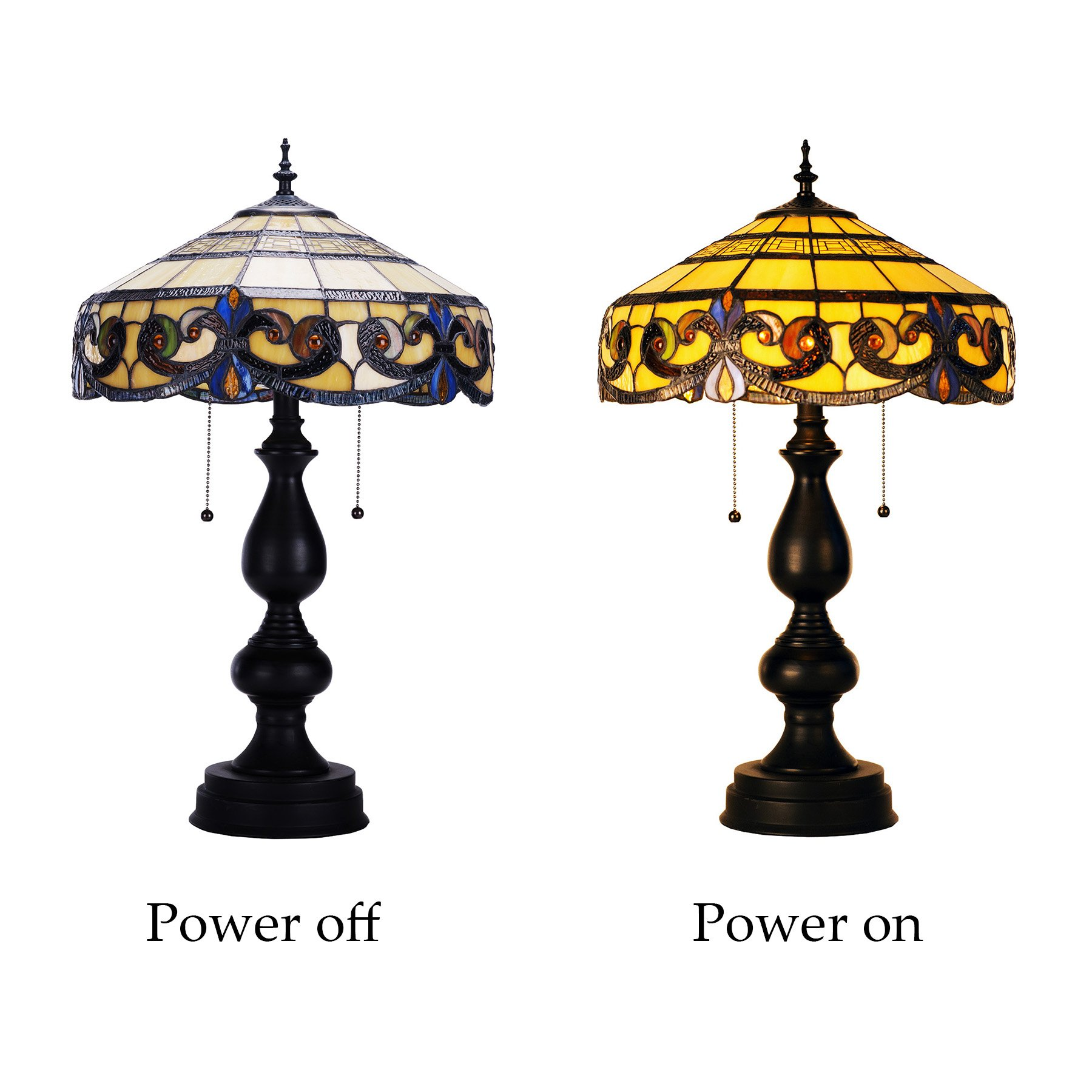 CO-Z Tiffany Style Table Lamps, 2-Light Victorian Desk Lamp with 16 Inches Stained Glass Shade, 25.5 Inches Height by CO-Z (Image #4)
