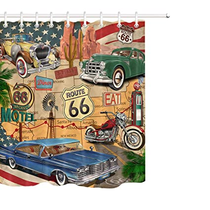 LB Antique Car Shower CurtainOld Classic Theme American Vintage Route 66 Diner Motorcycle