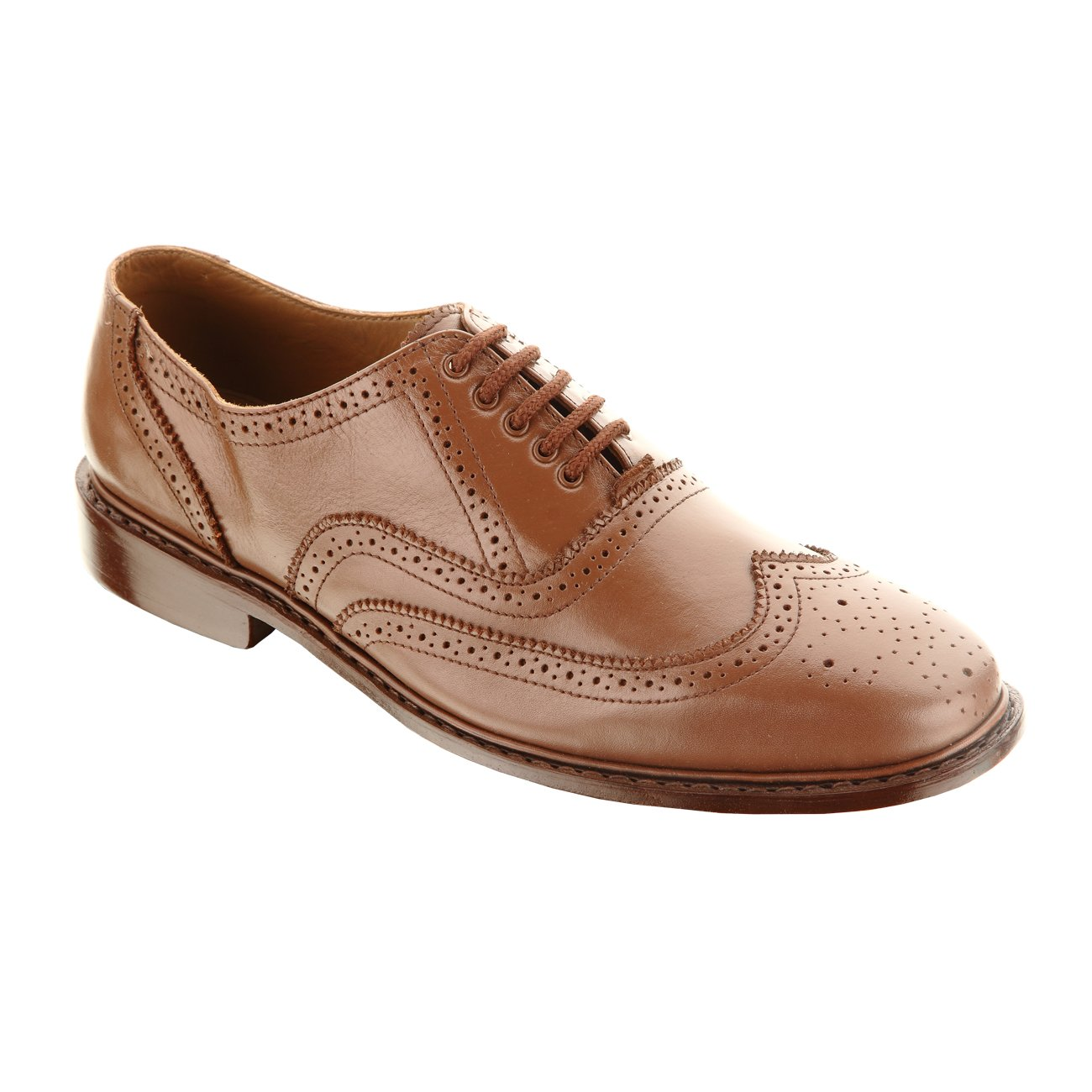 Damen Frost Handmade Vollo Mens Leather Shoes, Wing-tip Oxford Classic Design, Color Brown, Size US11