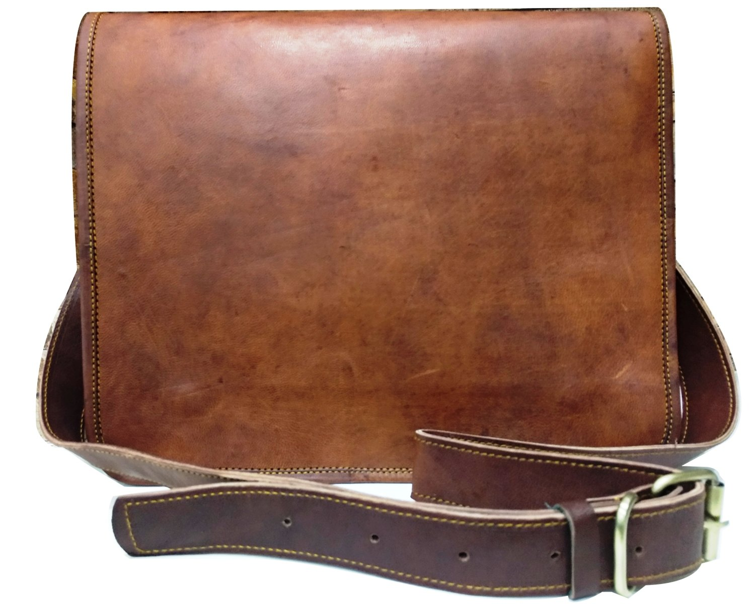 Leather Full Flap Messenger Handmade Bag Laptop Bag Messenger School Bag 15X11X3.5Inches
