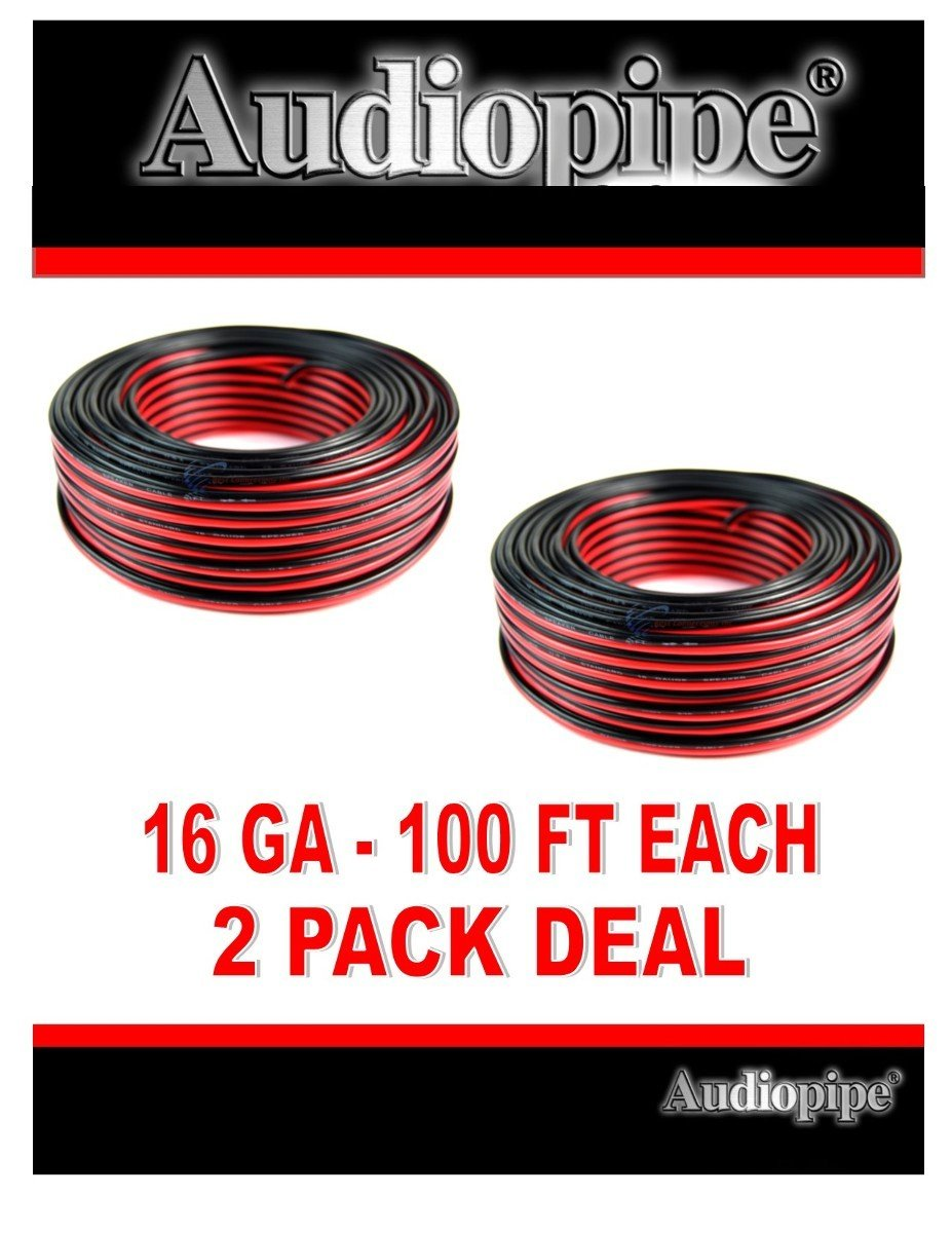 2 Rolls 100 Feet 16 Gauge Audiopipe Red Black 2 Conductor Speaker Wire Zip Cord