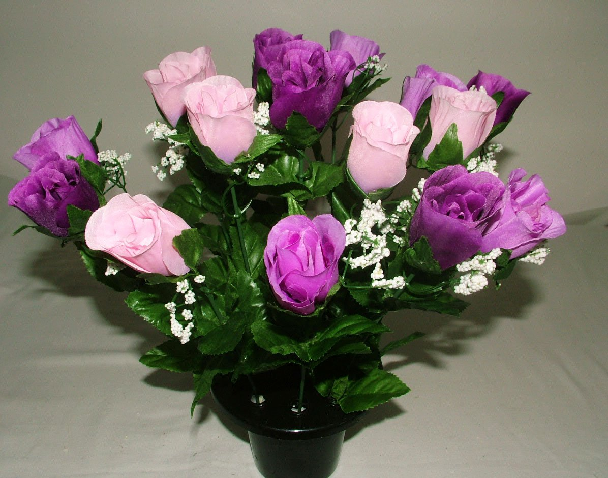 ARTIFICIAL PURPLE / LILAC ROSE GRAVE POT WITH 16 FLOWERS - VASE INSERT MEMORIAL