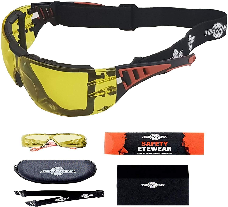 ToolFreak Rip-Out, Gafas de Seguridad con Cristales Amarillos para Trabajo y Deporte, Acolchado con Espuma, Mejoran la Visión,