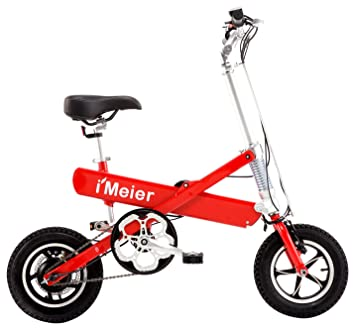 iMeier Electric Pedal-Assisted Folding Bike, Red