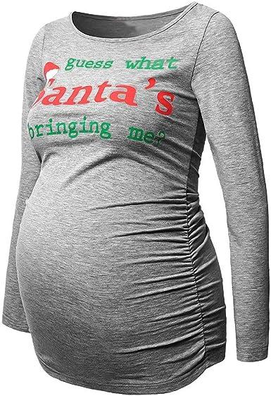 Ropa premamá Mujeres Lactancia Blusa de Maternidad Tops De Enfermería Camisa De Manga Larga Embarazadas Estampado de Dibujos Animados de Navidad Otoño Invierno Gusspower: Amazon.es: Ropa y accesorios