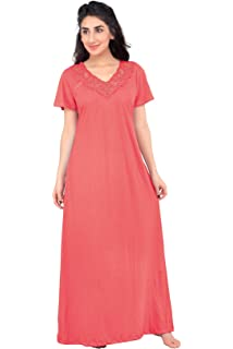 8f77973ebe Honeydew Womens Cotton Hoisery Plain Nighty - Round Neck - Net Lace at  Front - Half