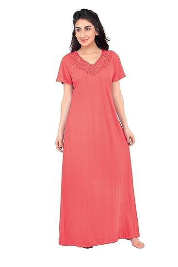 3504803e430 HoneyDew - Womens Cotton Hoisery Plain Nighty - Gajar Pink Color ...