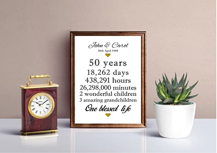Personalised 50th Anniversary Gift Idea Golden Wedding Anniversary