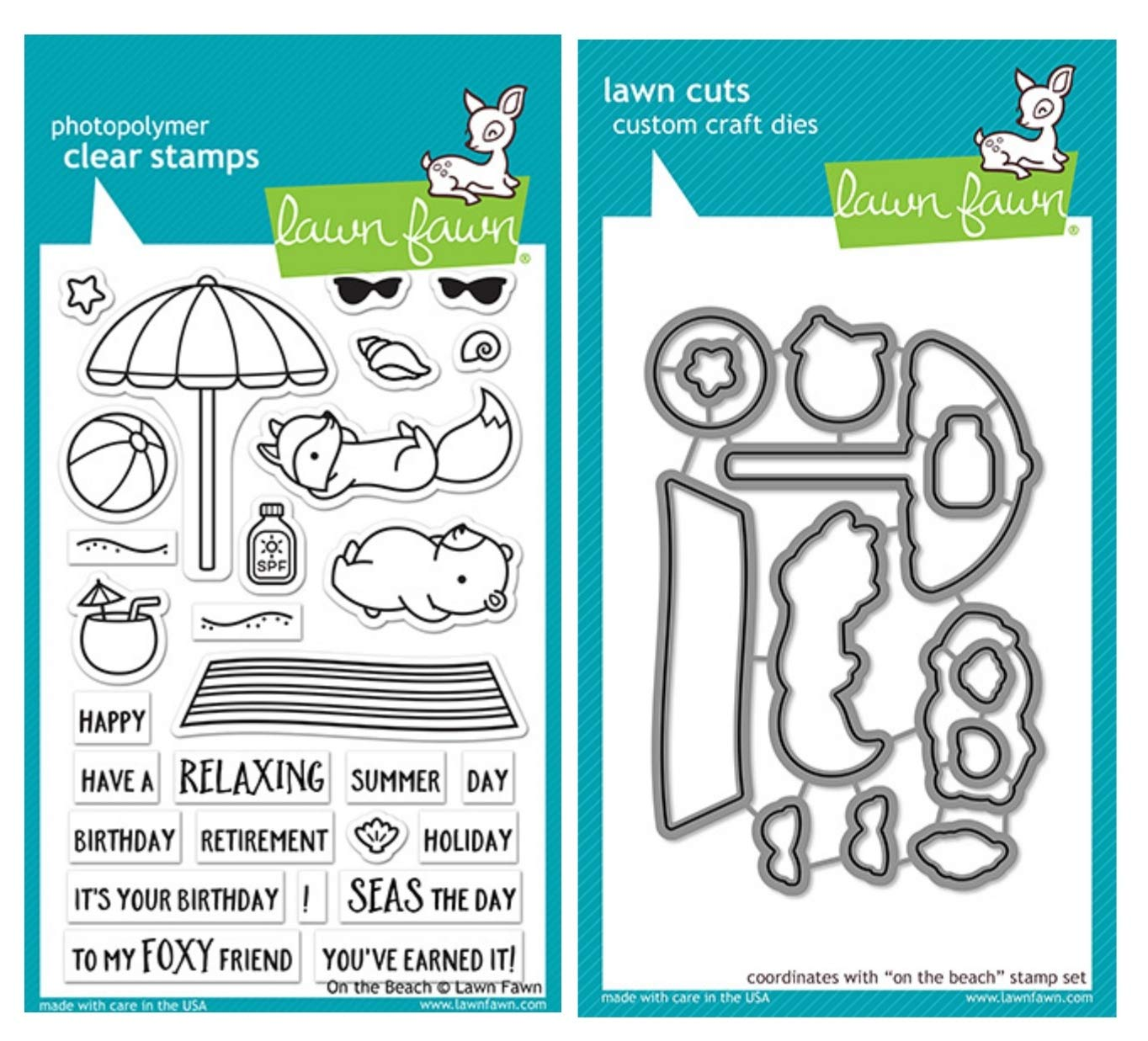 Lawn Fawn On The Beach 4''x6'' Clear Stamp and Coordinating Custom Craft Die Set, Bundle of Two Items, LF 1955, LF1956