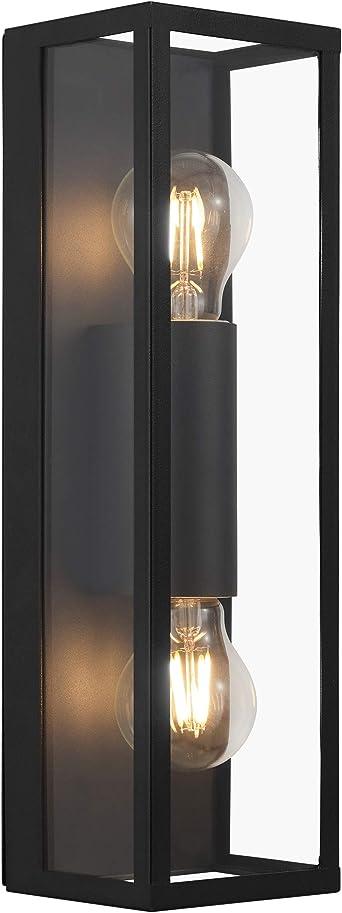 Eglo Wandlampe Amezola 2 Flammige Wandleuchte Industrial Vintage Wandleuchte Innen Aus Stahl Und Glas Wohnzimmerlampe Flurlampe In Schwarz Klar Badezimmer Lampe Mit E27 Fassung Ip44 Amazon De Beleuchtung