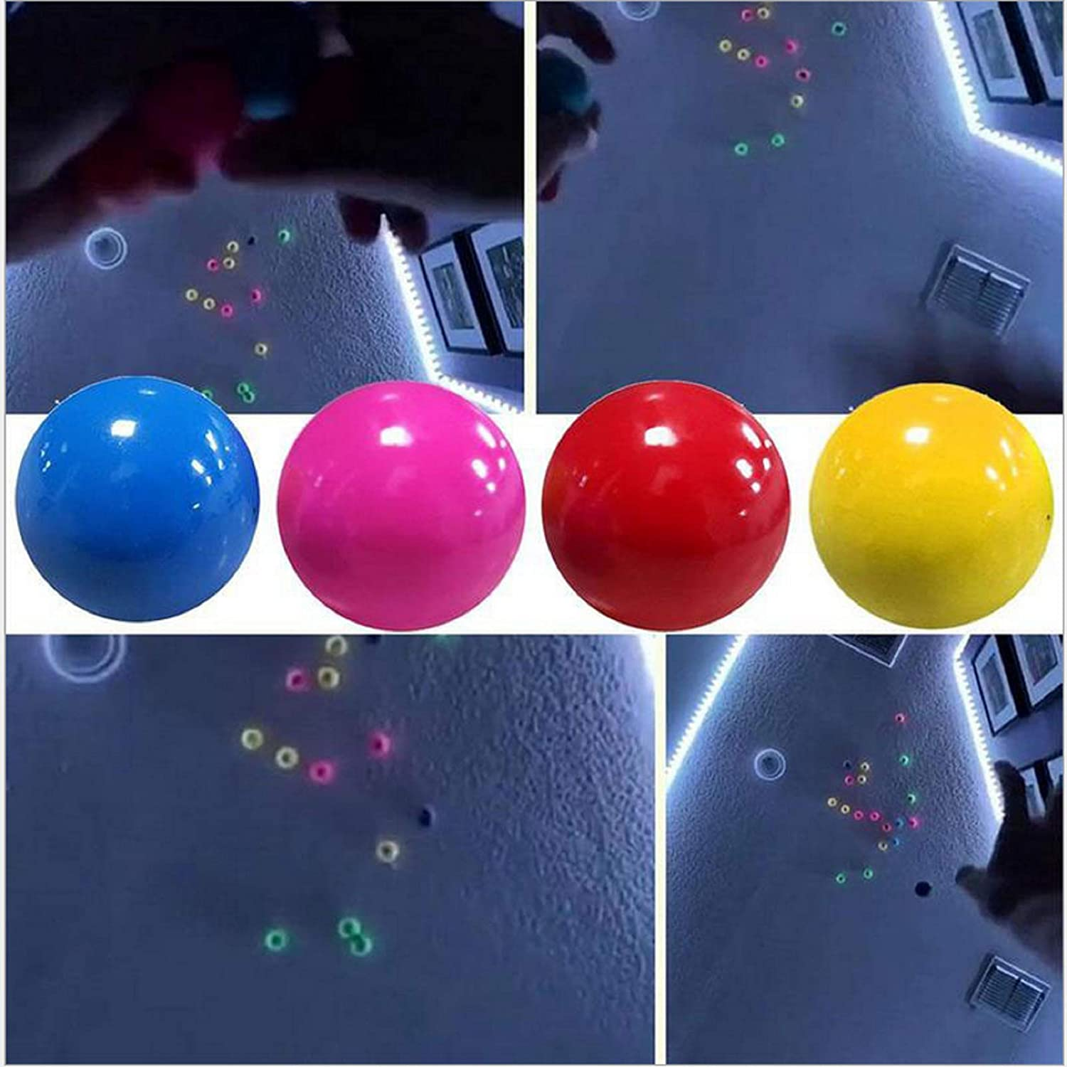 4 Pcs Luminescent Stress Relief Balls Sticky Ball,Glow in The Dark Sticky Ceiling Balls,Stick to The Wall and Slowly Fall Off Squishy Glow Stress Relief Toys for Kids and Adults Tear-