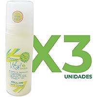 Vital Green Desodorante Roll On con Aloe Vera de Cristal Alumbre - Para Pieles Sensibles e Irritables - Sin Clorhidrato de Aluminio, ni Alcohol - Elimina el Olor y no Mancha - 90ml (Paquete 3 unidades)