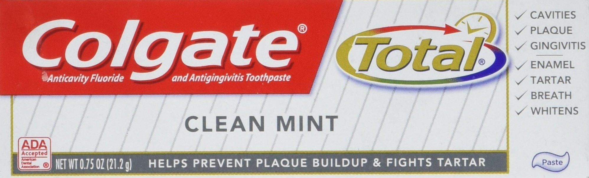 Colgate Total Clean Mint Toothpaste-0.75 oz, Travel Trial size - CASE PACK of 24 tubes by Colgate (Image #4)
