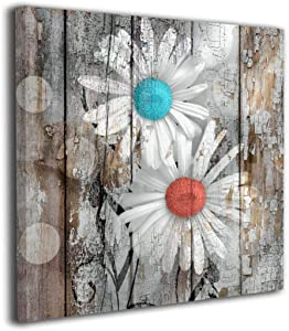 Colla Canvas Print Teal Coral Rustic Modern Floral Wall Art, Daisy Flowers Contemporary Wall Decor for Living Room Bedroom Framed Ready to Hang 12x12 Inches
