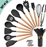 Silicone Kitchen Utensil Set, Cooking Spatulas Soup Ladle Slotted Spoon Turner Pasta Server Basting Brush Tongs Whisk…