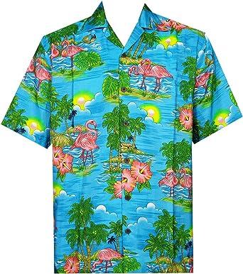 ALVISH - Camisas hawaianas de flamenco rosa para hombre, para playa, fiesta, casual, acampada, manga corta, crucero - - Small: Amazon.es: Ropa y accesorios