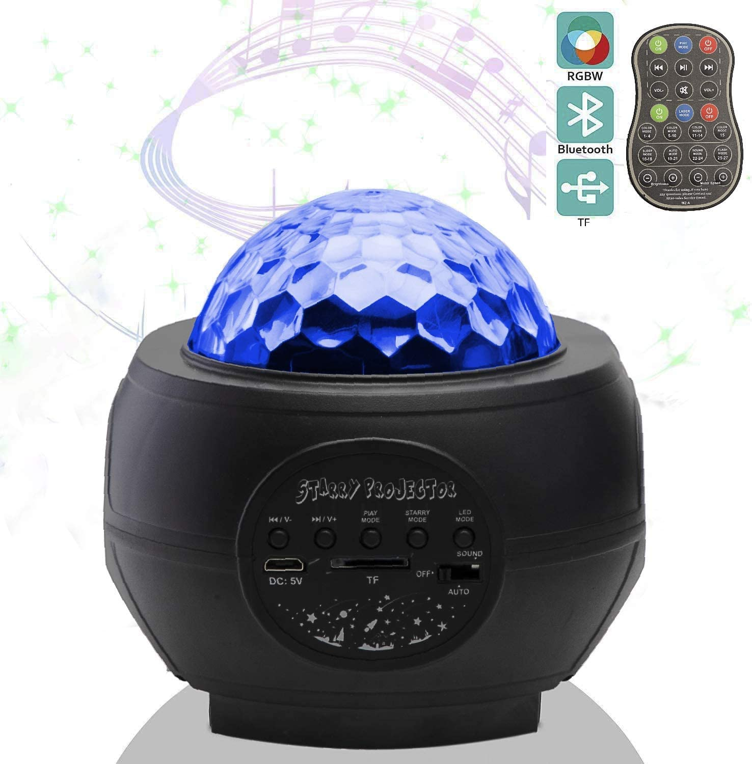 amazon com jd star projector night light led star ocean wave night light with built in music speaker remote controller for bedroom decoration kids party dance floor ceiling garden outdoor amazon com