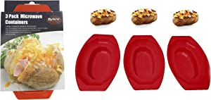 3 Pack Microwave Potato Cooker BPA Free Plastic