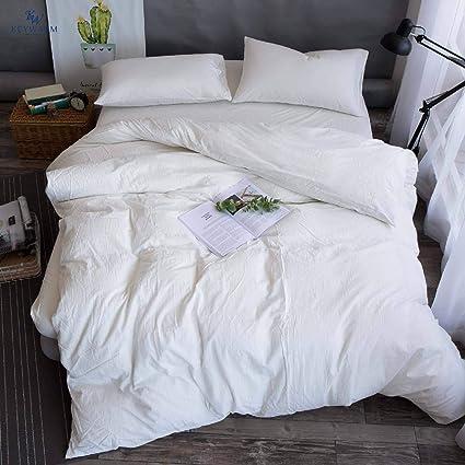 Amazoncom Key Warm White Bedding Plain White Duvet Cover Set 100