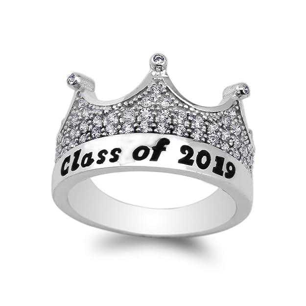Amazon.com: Anillo de graduación escolar de oro blanco de 14 ...