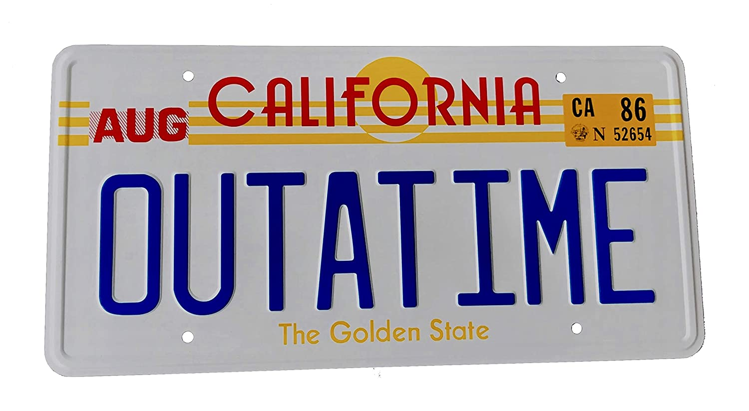 OUTATIME Back To The Future prop License Plate, Back to the Future number plate as seen on Marty McFly and Doc Browns DMC-12 Delorean. Super6props