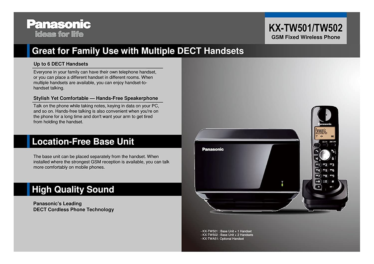 Panasonic Gsm Fixed Wireless Kx Tw501 Cxbe 2 Handsets Cordless Tg6811 Phone With Power Backup