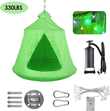 Kids Waterproof Polyster Hanging Swing Hammock Chair with LED Lights for Indoor Outdoors Blue