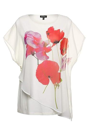 258a577dfc0015 Ulla Popken Women's Plus Size Poppy Print Layered Top 716519: Ulla Popken:  Amazon.co.uk: Clothing