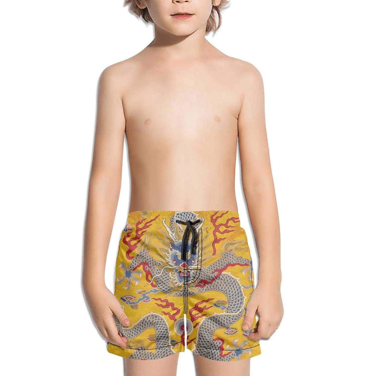 Lenard Hughes Boys Quick Dry Beach Shorts with Pockets Ancient Chinese Qing Dynasty Emperor's Dragon Swim Trunks for Summer