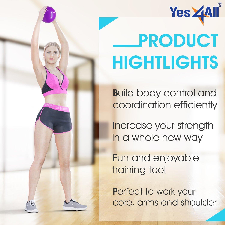 Yes4All suave peso pelota de tonificación/Balón medicinal - Multi Color y pesos disponibles: 2, 4, 6, 8 libras (Single & par), 4 lbs Green - Pair: ...