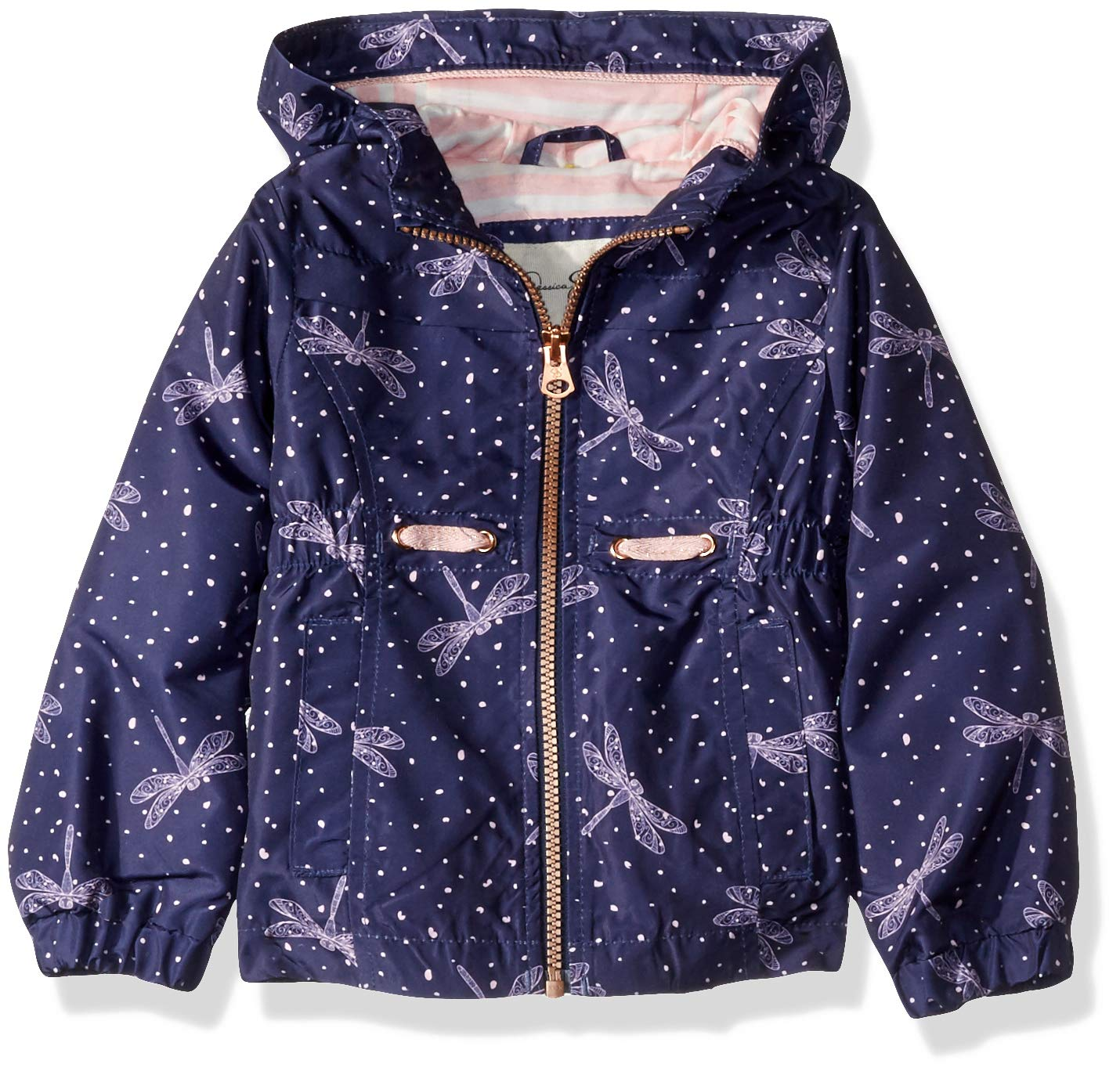 Jessica Simpson Girls' Toddler Lightweight Anorak Jacket with Jersey Lining, New Navy Dragonfly 2T