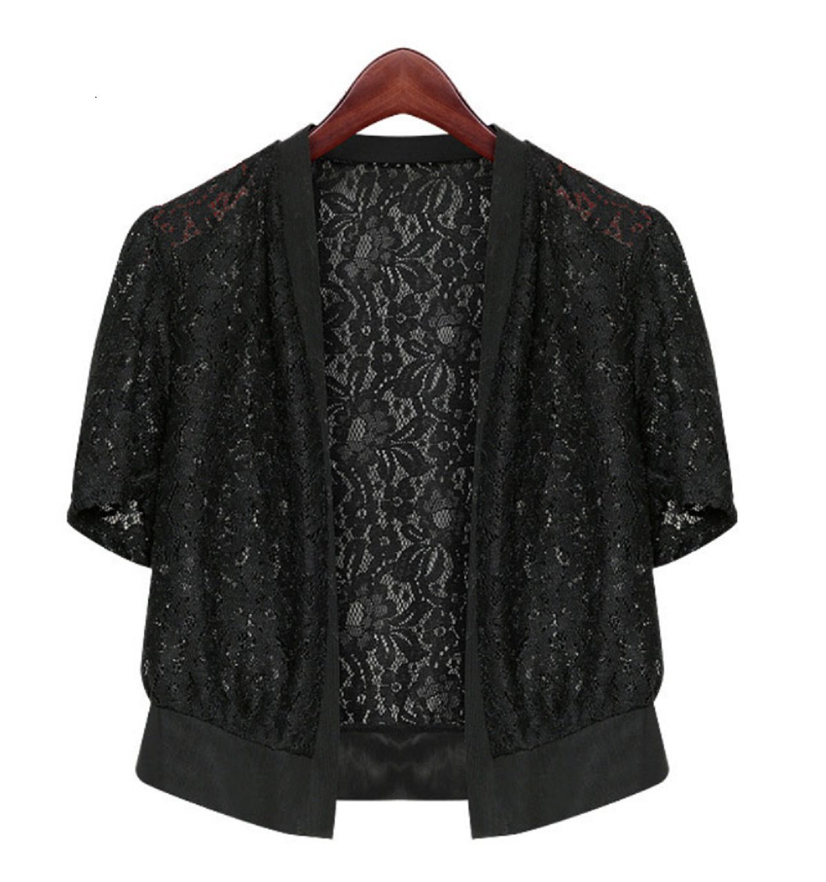 Gacchi56 Slender Size Lace Bolero Shrug Tops Short Sleeve Knit Open Cropped Cardigan Sweater for Women (See The Size Chart) (2XL)