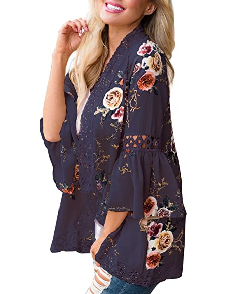 ce645a457 Young17 Women Lace Floral Open Cape Loose Blouse Bell Sleeve Kimono  Cardigan Patchwork Cover ups Cardigan