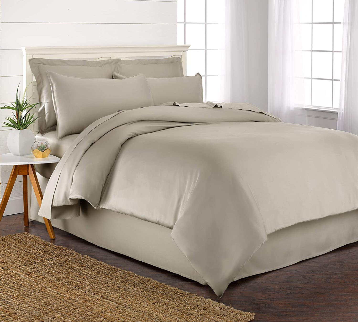 - 100/% Organic Bamboo Bed Skirt with 16 Drop Incredibly Soft /& Smooth 76 x 80 Pure Bamboo King Bed Skirt King, White