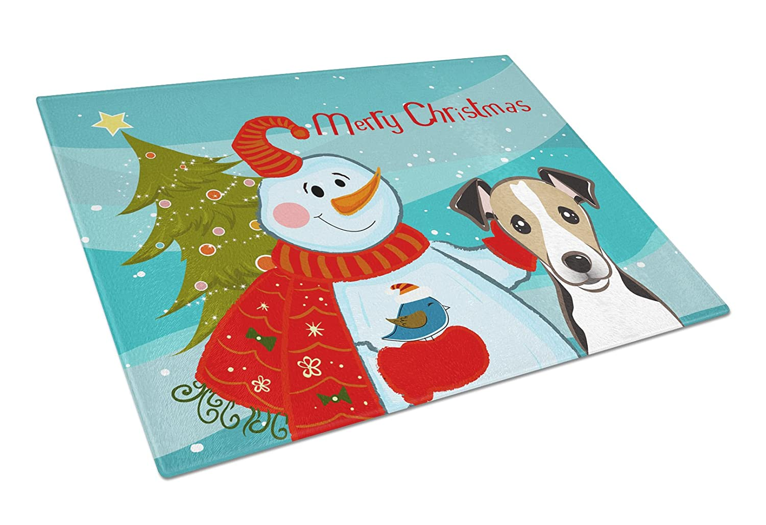 Large Multicolor Carolines Treasures BB1881LCB Snowman with Jack Russell Terrier Glass Cutting Board